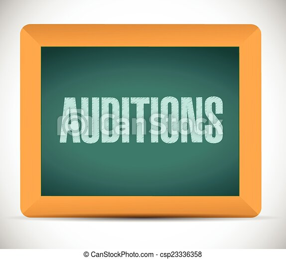 auditions sign on a board illustration - csp23336358