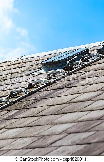 Auf Dach Luke Copy Space Schiefer Detail Dach Fenster
