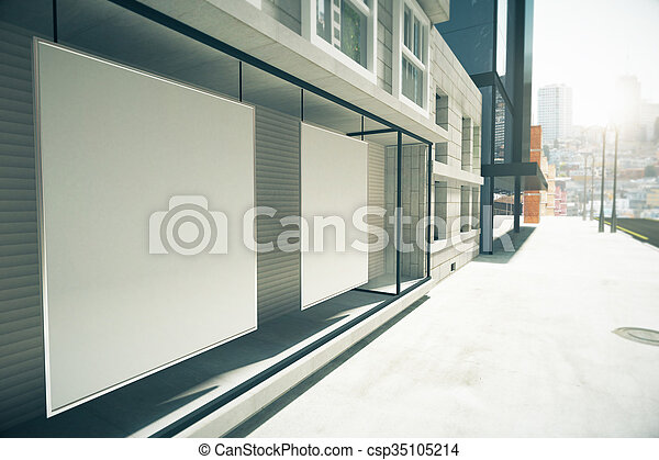 Auf Render Boden Fenster Leer Plakate Zuerst Gebaude