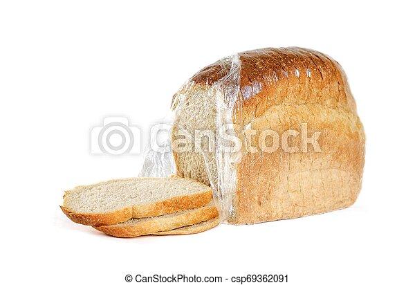 Ein Laib Brot. Mach zu. Auf weißem Hintergrund - csp69362091