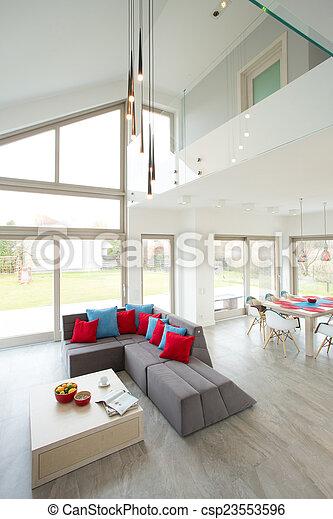 Aufenthaltsraum Graue Modern Sofa Graue Farbe Sofa Modern