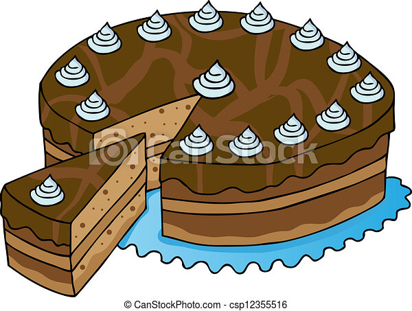 Aufgeschnitten Kuchen Kakau Illustration Kakau