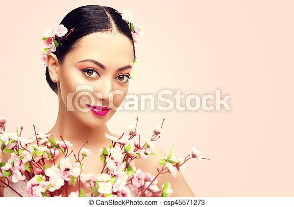 Schöne japanische Ehefrau Modell