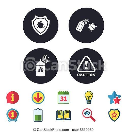 Aufmerksamkeit Achtung Desinfektion Icon Wanze Signs