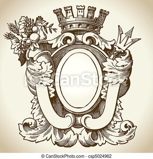 Ornate heraldic emblem - csp5024962