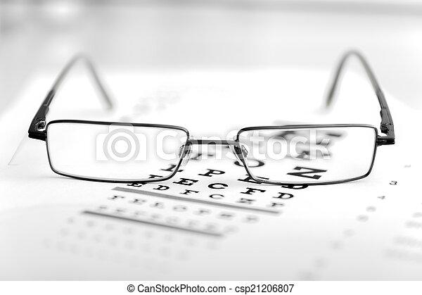 auge, klar, modern, tabelle, schwarz, anblick- test, brille - csp21206807