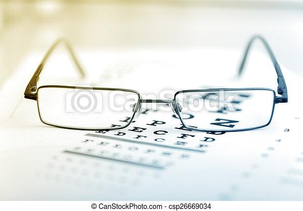 auge, klar, modern, tabelle, schwarz, anblick- test, brille - csp26669034