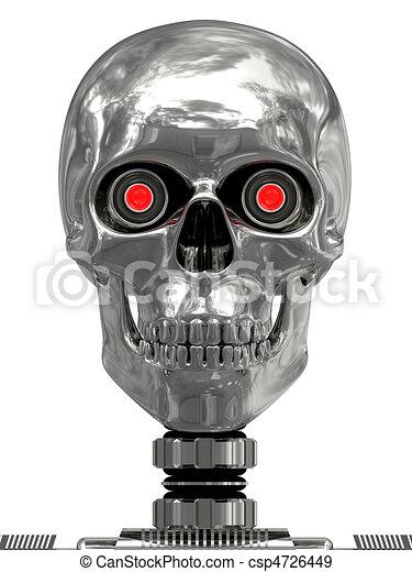 Metallischer Cyborgkopf mit roten Augen - csp4726449