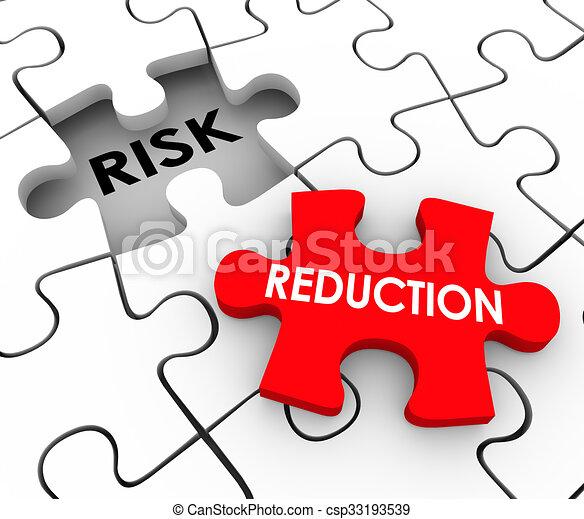 augmentation, réduction, morceaux, risque, puzzle, dangereux, comportement, mitigate, sécurité - csp33193539