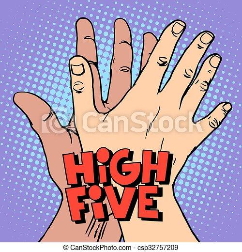 augurio, mano, alto cinque, nero, bianco - csp32757209