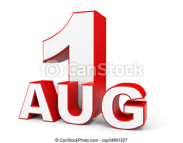 august 1 3d text on white background illustration clip art rh canstockphoto com