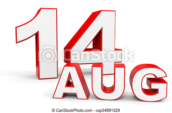 august 14 3d text on white background illustration clip art rh canstockphoto com