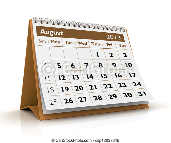 august 2013 calendar 3d desktop calendar 2013 in white background
