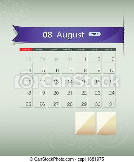 August 2013 calendar ribbon design - csp11681975