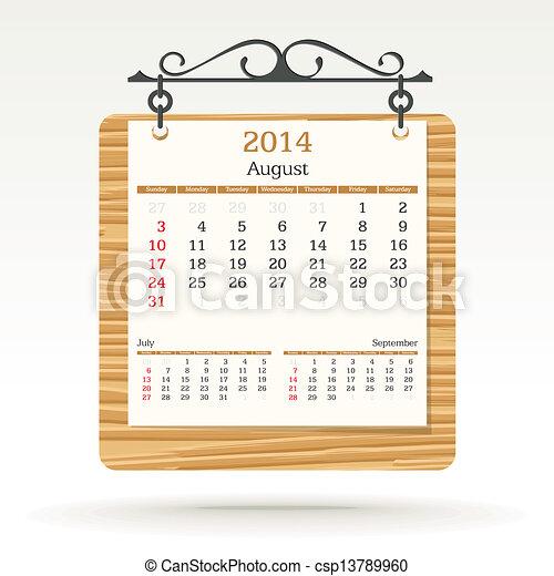 august 2014 - calendar - csp13789960