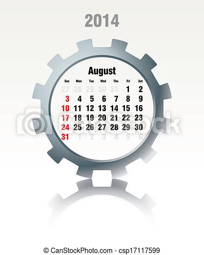 August 2014 - calendar - csp17117599
