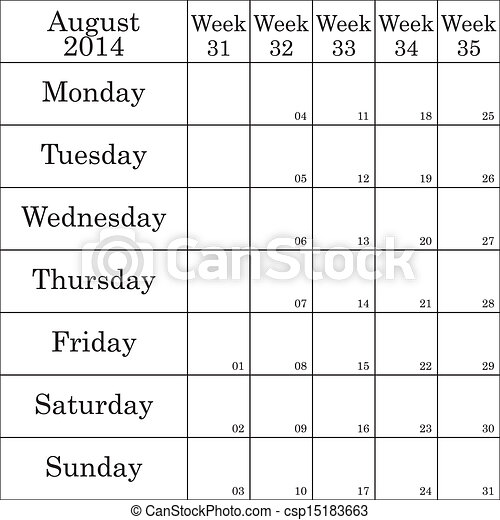 August 2014 planner month. August 2014 planner with number ...