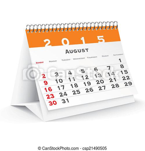 August 2015 desk calendar - csp21490505