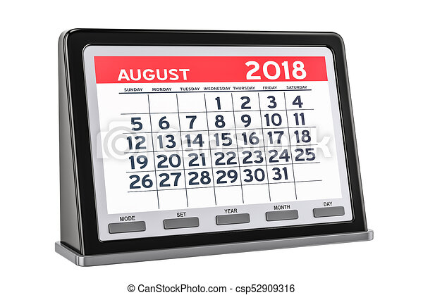August 2018 Digital Calendar 3d Rendering Isolated On White Background