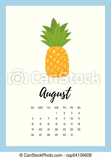 Pineapple Template | Vector Cartoon Style Illustration Of August 2018 Year Calendar Page
