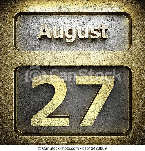 august 27 golden sign - csp13423889