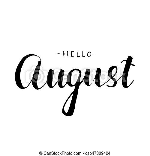 August Lettering Print. Summer Illustration.