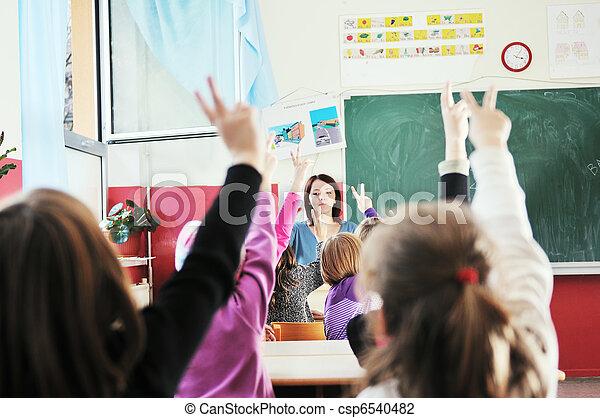 aula, escolares, profesor, feliz - csp6540482