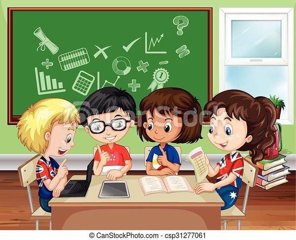Clip art vectorial de aula grupo nios trabajando  Children