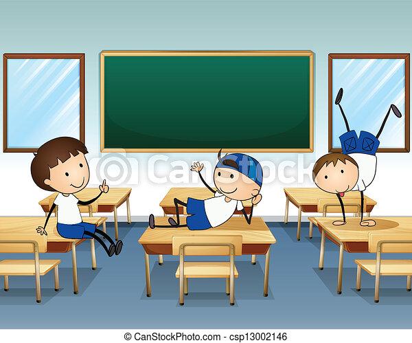 Tres chicos jugando dentro de la clase - csp13002146