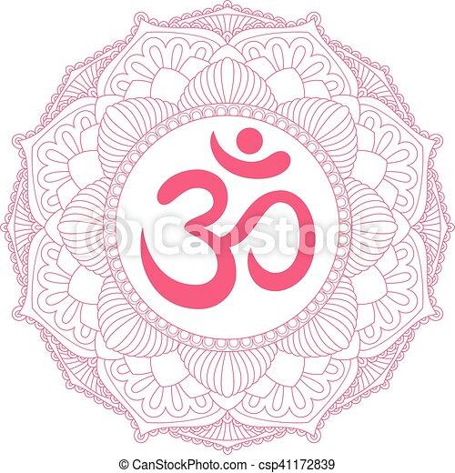 Aum Om Ohm Symbol In Decorative Round Mandala Ornament