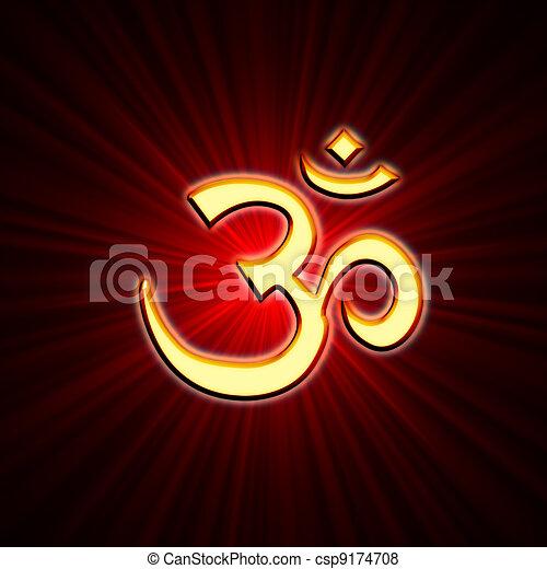 aum sign golden aum symbol over red lightrays