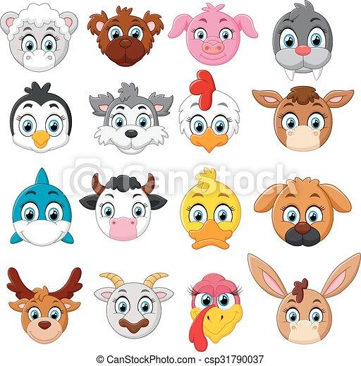 Coleccion de cabezas de animales de dibujos animados - csp31790037