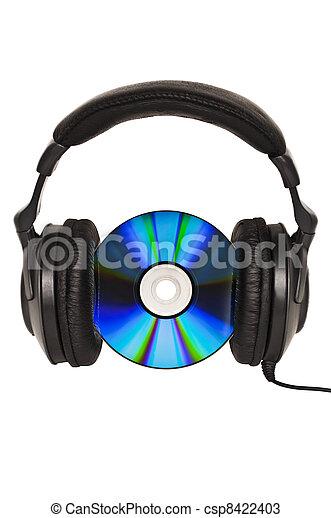 Auriculares con CD, concepto de música - csp8422403