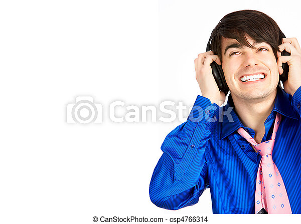 Joven con auriculares - csp4766314