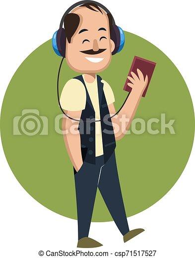 Hombre con auriculares, ilustración, vector de fondo blanco. - csp71517527