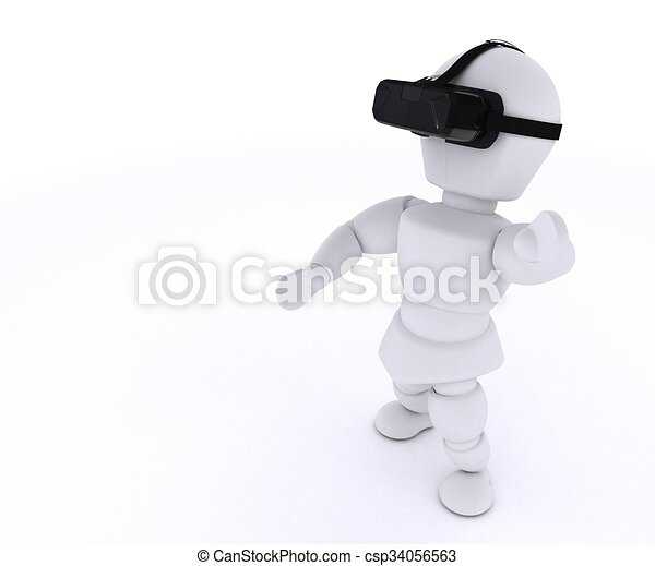 Hombre con auriculares VR - csp34056563