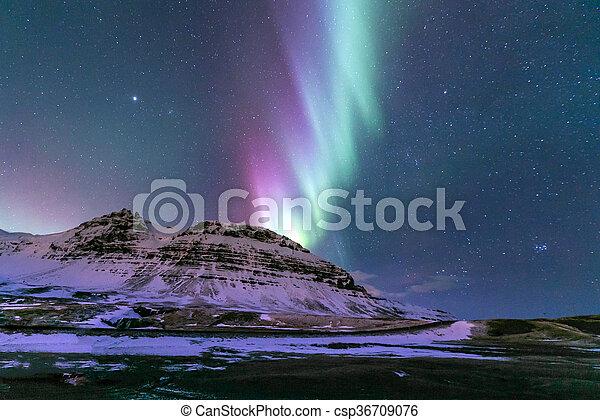 Aurora borealis Iceland - csp36709076