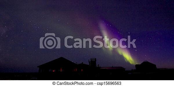 Aurora Borealis over Building 1 - csp15696563