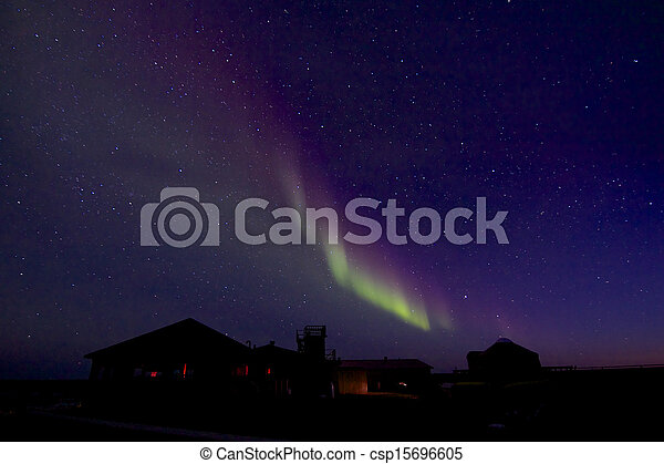 Aurora Borealis over Building 2 - csp15696605