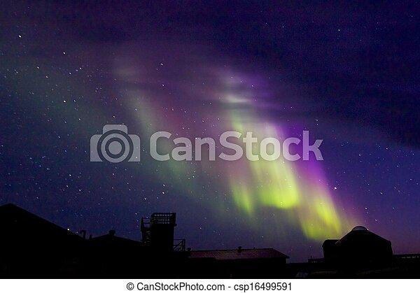 Aurora Borealis over the Lodge 1 - csp16499591