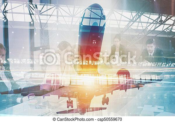 aus, doppelgänger, flugzeug, flughafen, nehmen, aussetzung - csp50559670