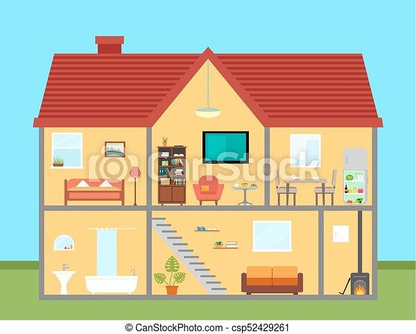 Ausführlich, Schnitt, Haus, Ausrüstung, Zimmer, Möbel   Csp52429261