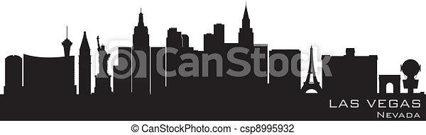 ausführlich, silhouette, las vegas, vektor, skyline., nevada, las - csp8995932