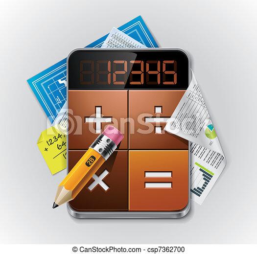 ausführlich, taschenrechner, vektor, xxl, ikone - csp7362700