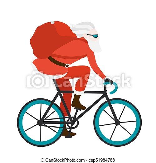 auslieferung, fahrrad, geschenke, bote, santa, rotes