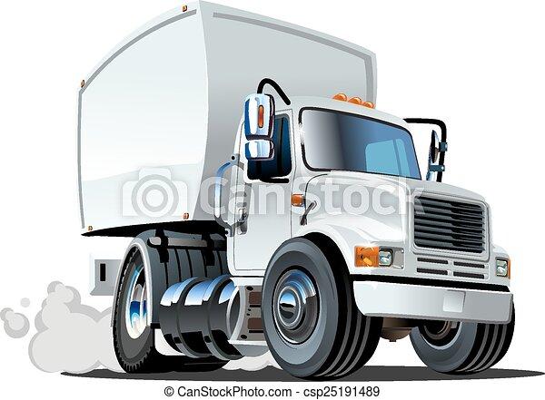 auslieferung, fracht lastwagen, karikatur - csp25191489
