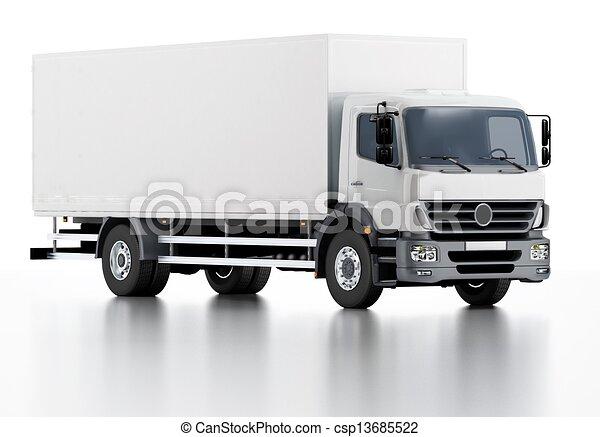 auslieferung, ladung, gewerblich, lastwagen, / - csp13685522
