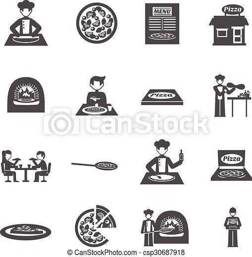 auslieferung, pizzeria, satz, pizza, heiligenbilder - csp30687918