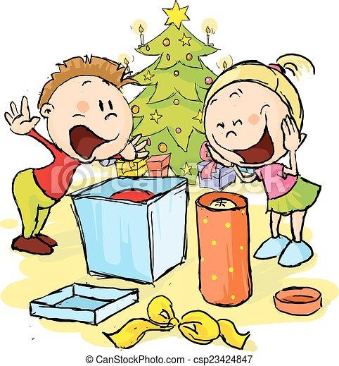 Clipart Weihnachtsgeschenke.Auspacken Baum Abbildung Weihnachtsgeschenke Vektor Unter Kinder