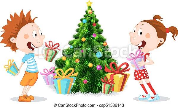 Clipart Weihnachtsgeschenke.Auspacken Baum Freigestellt Abbildung Weihnachtsgeschenke Vektor Unter Weißes Kinder